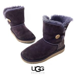 Ugh Bailey Button Purple Pull On Lamb Fur Boot
